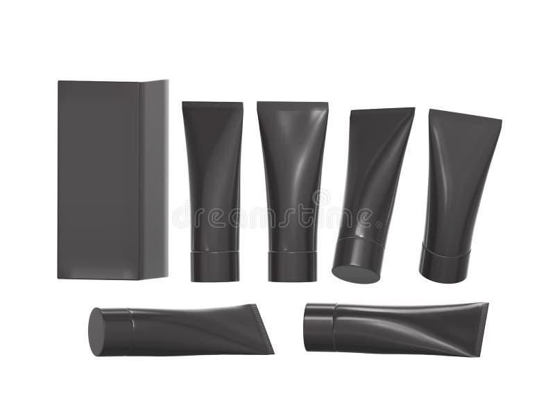 Tubo plástico preto da higiene da beleza com trajeto de grampeamento ilustração royalty free