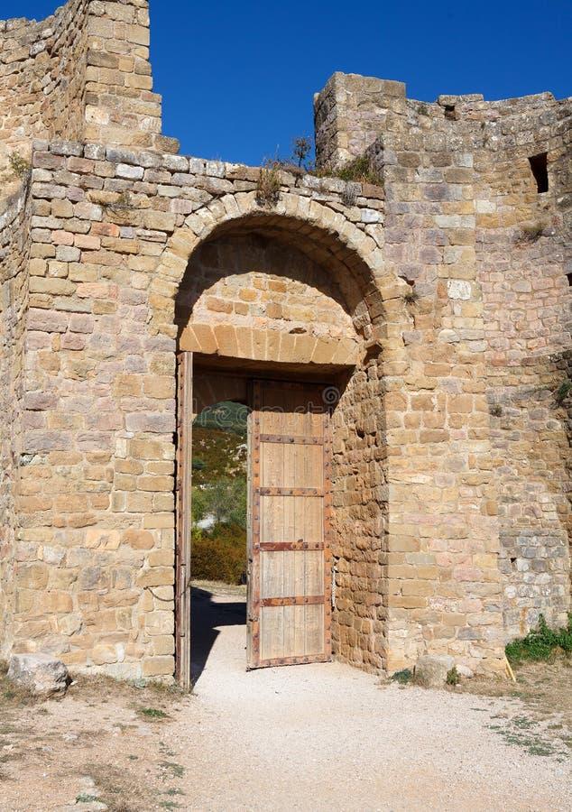 Tubo principale del castello di Loarre fotografia stock