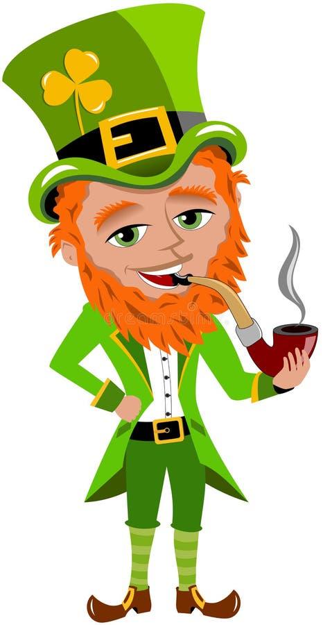 Tubo que fuma del duende del día de Patricks del santo stock de ilustración