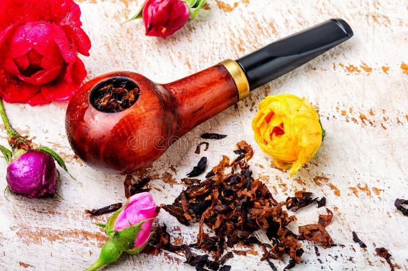 Tubo que fuma y tabaco floral foto de archivo libre de regalías