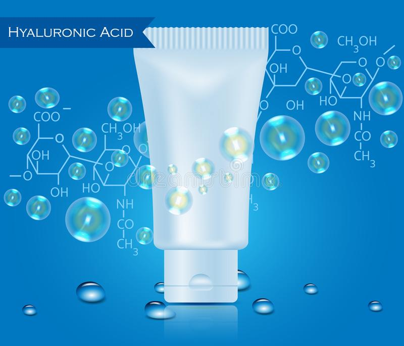Tubo realístico ácido de Hualuronic com gotas da água ilustração do vetor