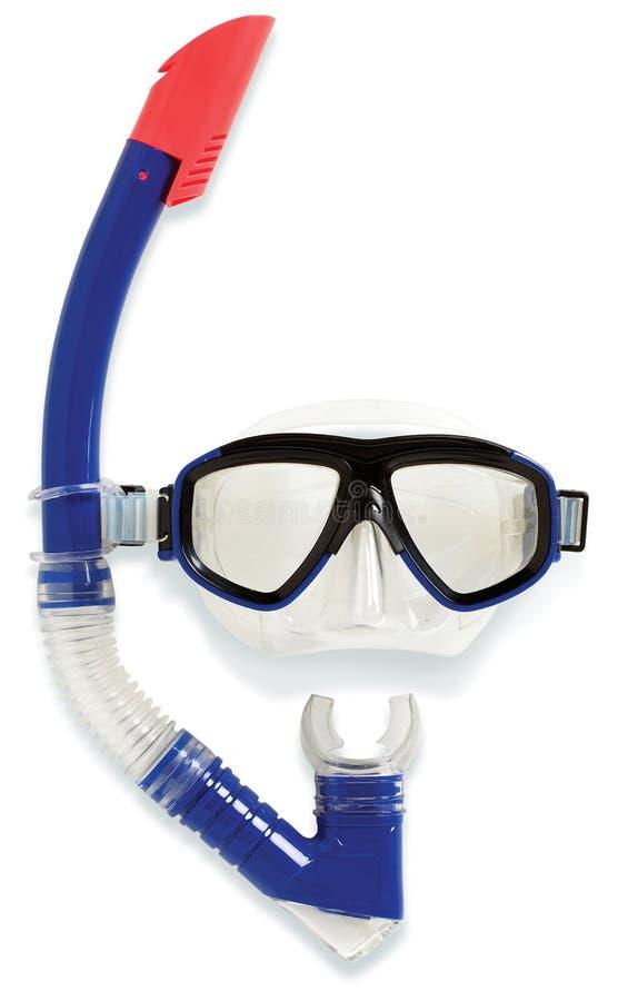 Tubo respirador y máscara del salto   foto de archivo