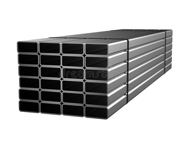 Tubo rettangolare d'acciaio galvanizzato Prodotti metallici illustrazione 3D illustrazione di stock