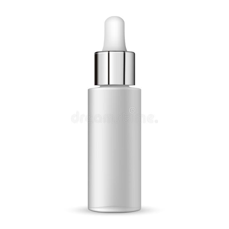 tubo vazio do conta-gotas realístico branco da garrafa 3d na ilustração branca do vetor do fundo ilustração stock