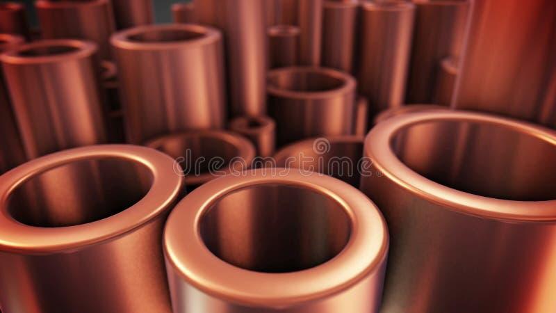 Tubos brillantes del cobre del metal con el foco selectivo ilustración del vector