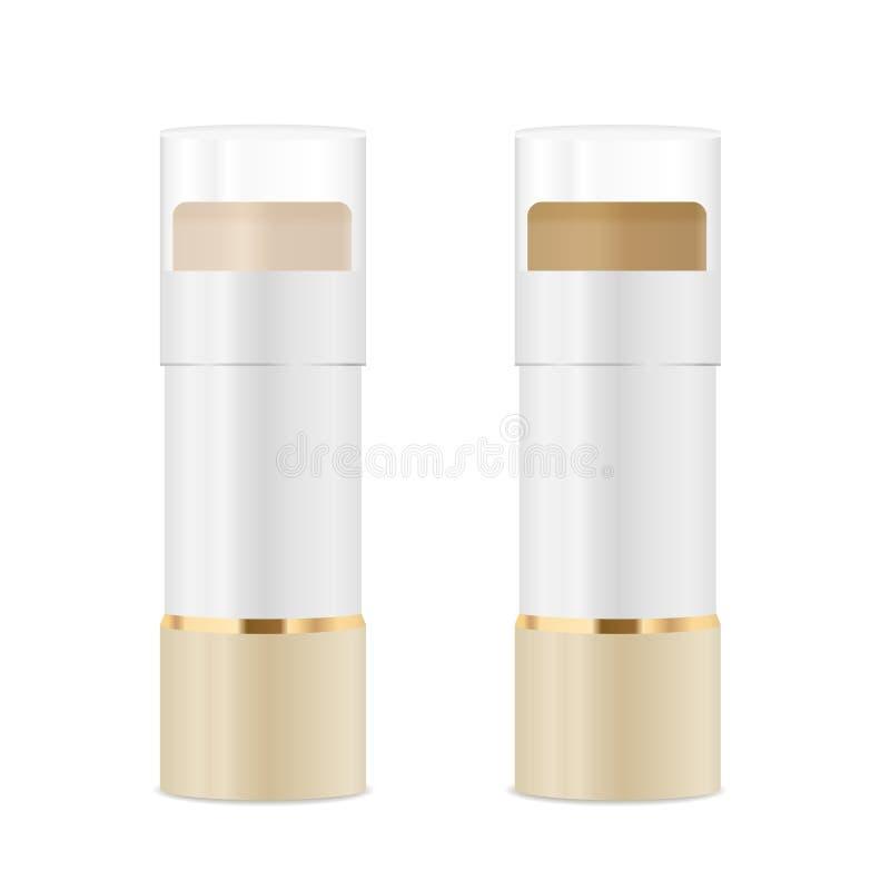 Tubos cosméticos con lápices correctores Oro y colores blancos fotos de archivo libres de regalías