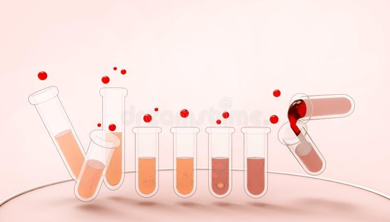 Tubos da ciência dos produtos vidreiros de laboratório com conceito líquido colorido e industrial químicos farmacologia e biotecn ilustração do vetor