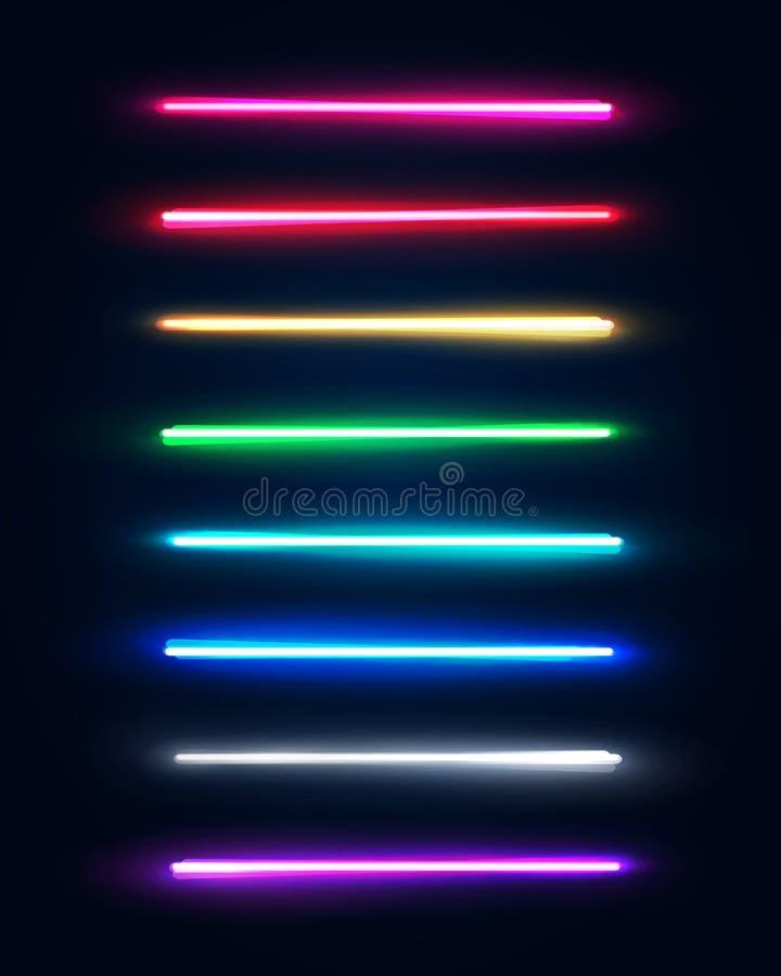 Tubos da luz de néon ajustados Halogênio ou lâmpadas leves conduzidas ilustração stock