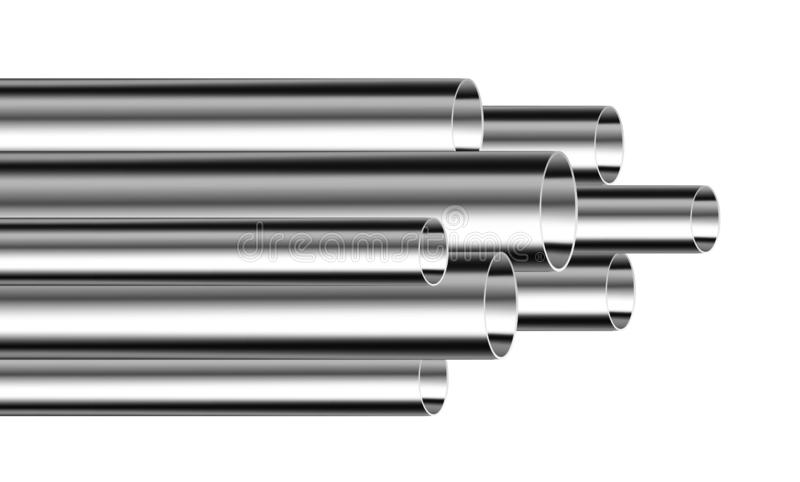 Tubos de acero o de aluminio stock de ilustración