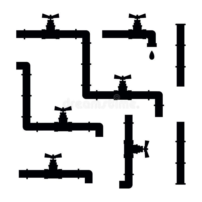 Tubos de agua con el sistema de la silueta del vector de las válvulas y de las grúas libre illustration