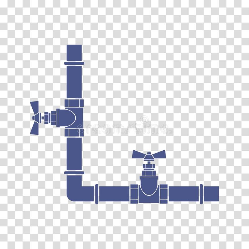 Tubos de agua con vector del icono de los golpecitos ilustración del vector