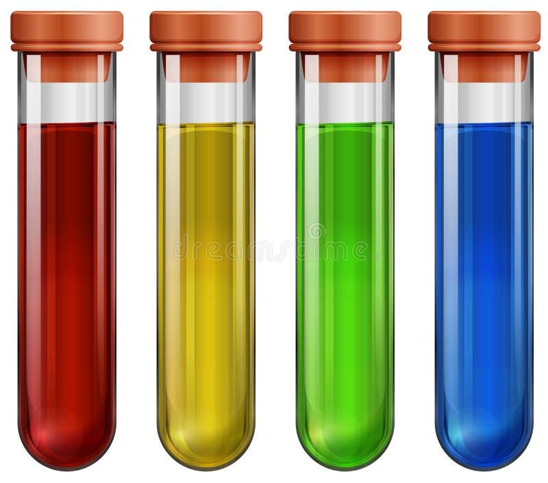 Tubos de ensaio com produtos químicos ilustração do vetor