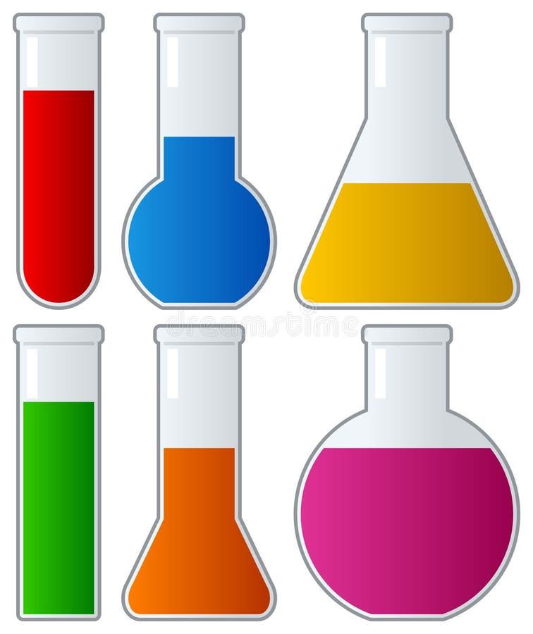 Tubos de ensaio químicos com líquido colorido ilustração do vetor