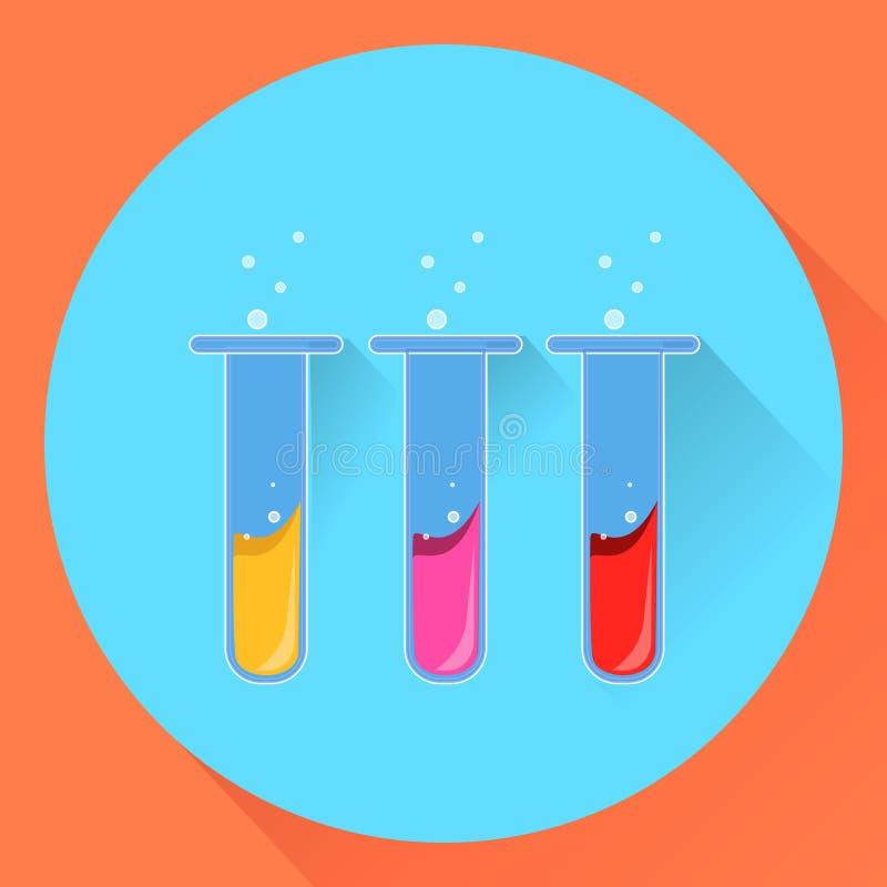 Tubos de ensaio químicos com uma substância líquida ilustração stock