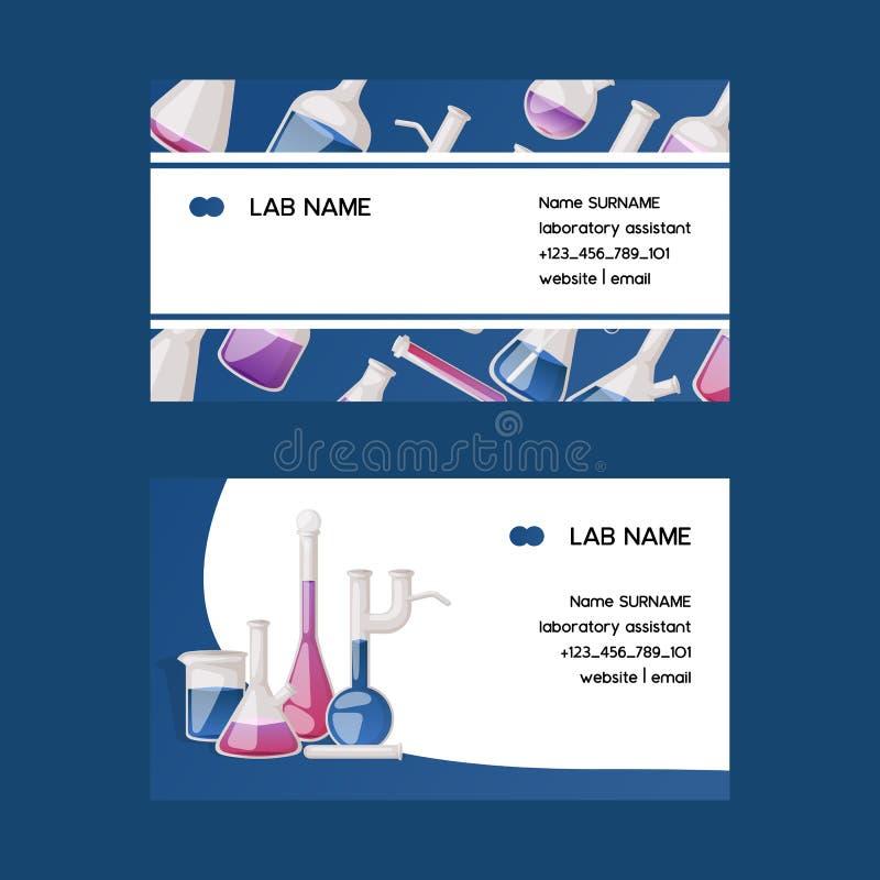 Tubos de ensaio de vidro químicos do cartão do vetor da garrafa do tubo de ensaio enchidos com o líquido para a pesquisa cient ilustração stock