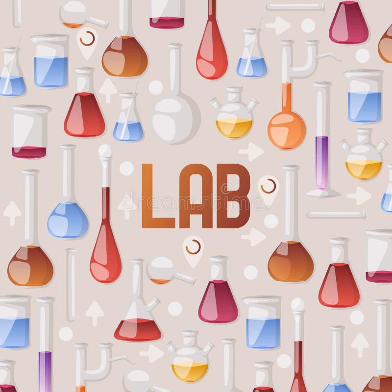 Tubos de ensaio de vidro químicos do vetor do teste padrão da garrafa do tubo de ensaio enchidos com o líquido para a pesquisa ilustração stock
