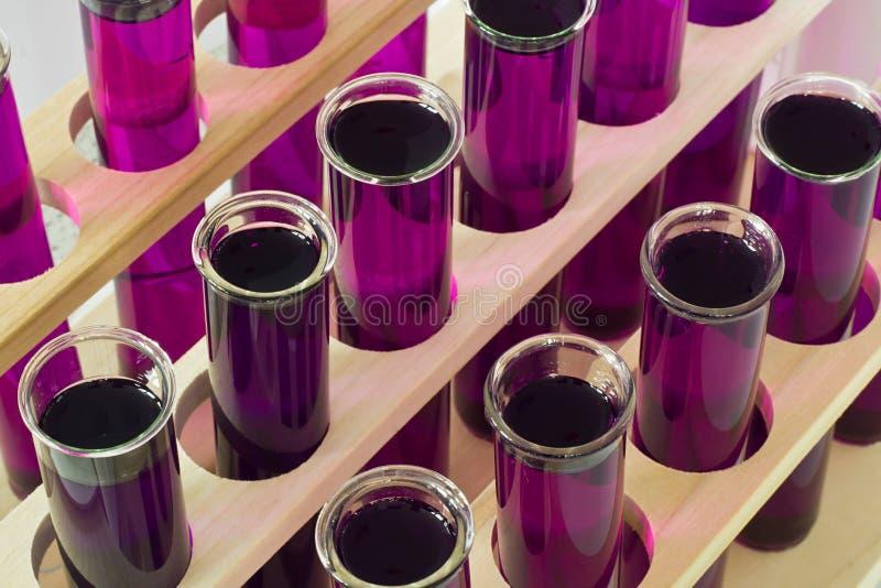 Tubos de ensayo bioquímicos en líneas en un laboratorio foto de archivo libre de regalías