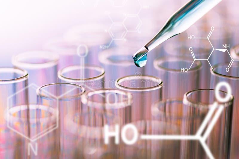 Tubos de ensayo del laboratorio de ciencia con fórmula química en la pantalla, imagen de archivo libre de regalías
