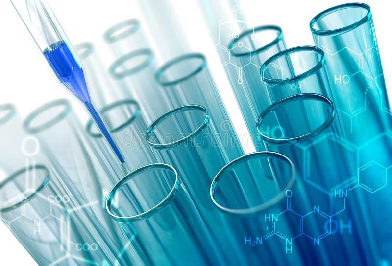 Tubos de ensayo del vidrio del laboratorio ilustración del vector
