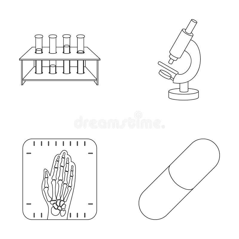 Tubos de ensayo en un soporte, microscopio, manos de la radiografía, bio-píldora Los iconos determinados de la colección de la me stock de ilustración