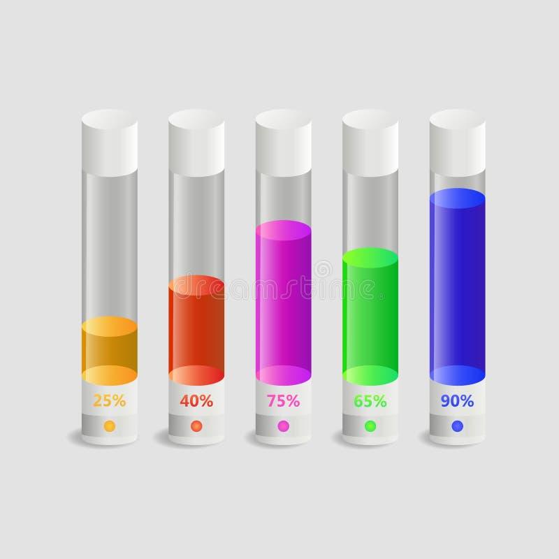 Tubos de ensayo llenados del líquido coloreado en el 25,40,75,65,90% libre illustration