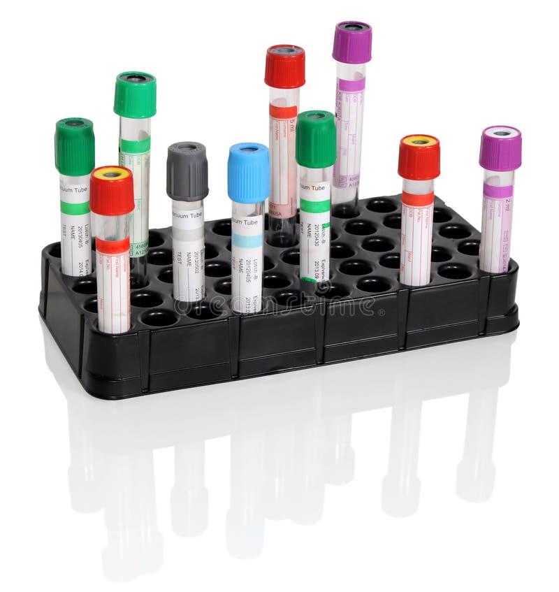 Tubos de ensayo para la sangre imagen de archivo