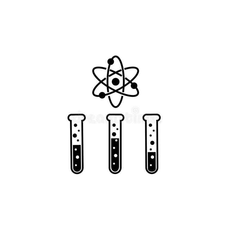 Tubos de ensayo y logotipo de la ciencia stock de ilustración