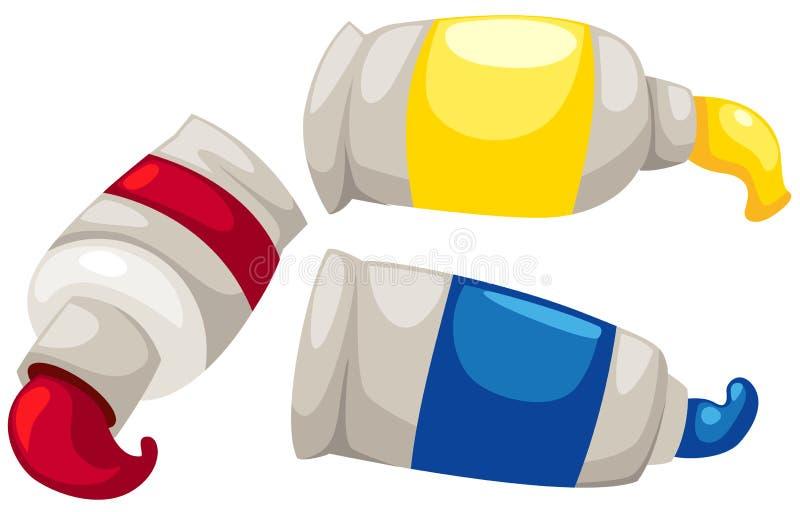 Tubos de la pintura stock de ilustración