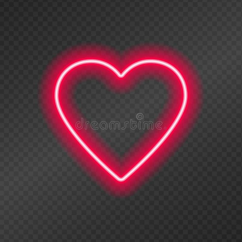Tubos de néon na forma de um coração isolado em uma grade escura da transparência ilustração stock