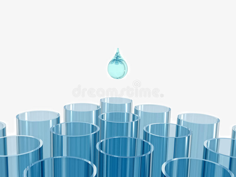 Tubos de prueba azules y gota del agua en el backgro blanco libre illustration