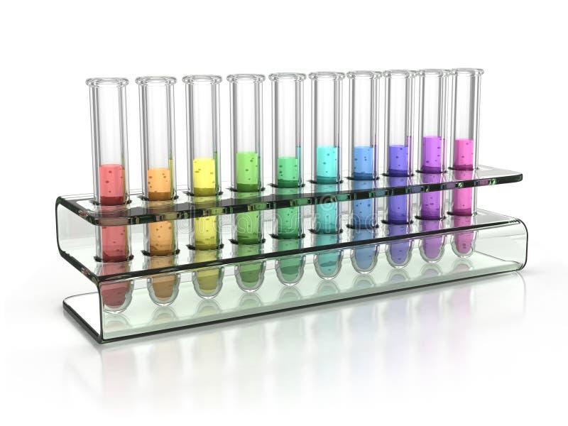 Tubos de prueba coloridos ilustración del vector