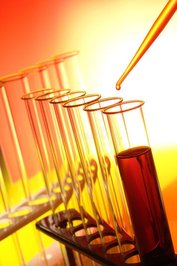 Tubos de prueba en laboratorio de investigación de la ciencia foto de archivo