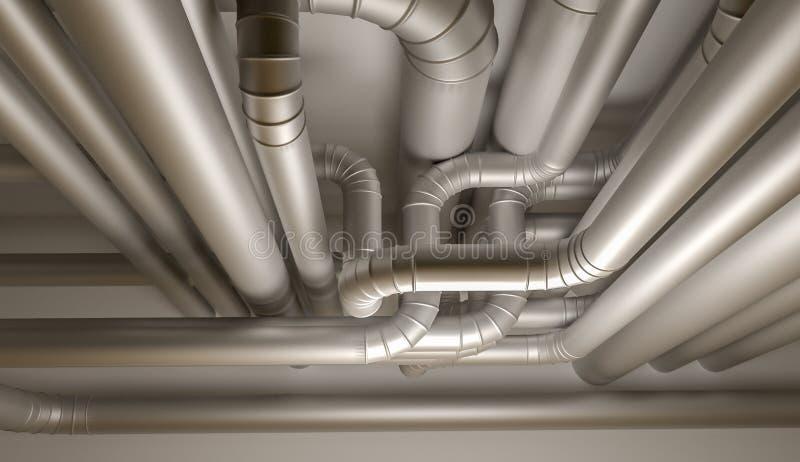 Tubos del sistema de la HVAC ilustración 3D stock de ilustración