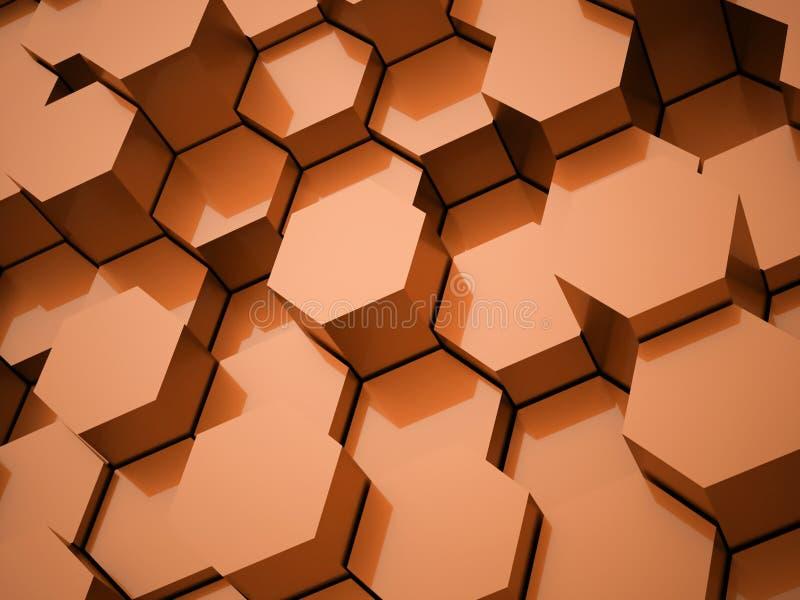 Tubos hexagonales anaranjados rendidos stock de ilustración