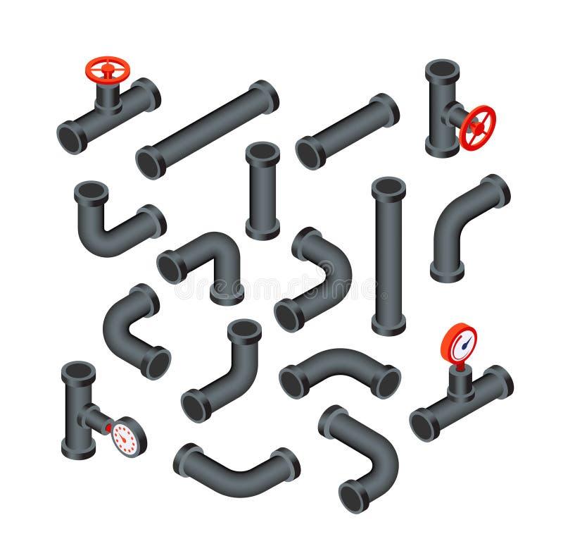 Tubos isométricos Tubos del agua, tubería con la válvula Aceite, construcción del tubo de la industria petrolera Sistema que sond stock de ilustración