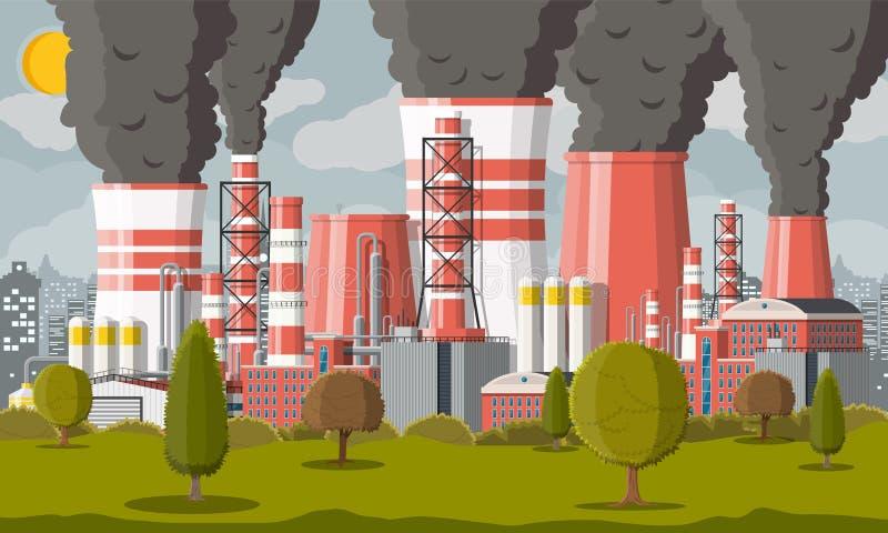 Tubos que fuman de la planta Niebla con humo en ciudad ilustración del vector