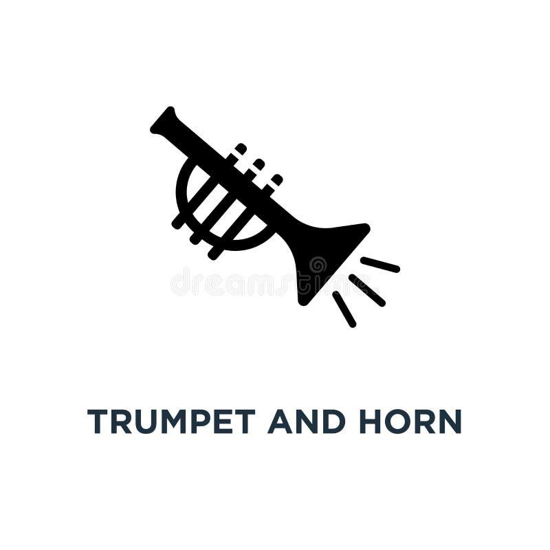 Tubowa i róg instrumentów muzycznych ikona Prosty elementu illust ilustracja wektor