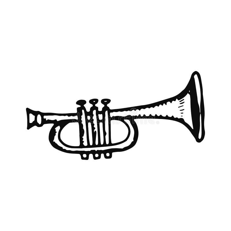 Tubowa instrumentu muzycznego nakreślenia ikona odosobniony przedmiot na bielu ilustracja wektor