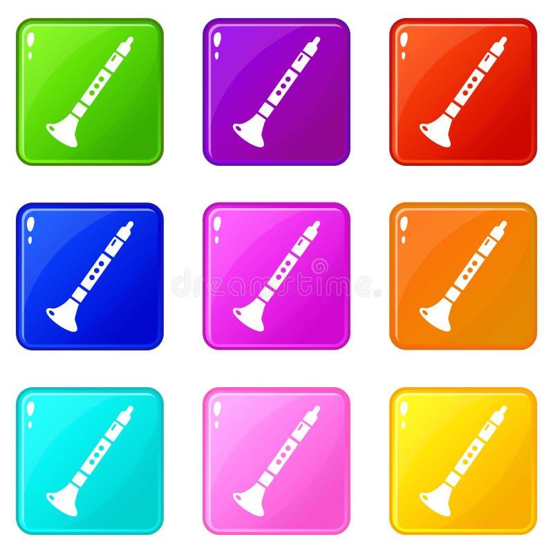 Tubowe ikony ustawiają 9 kolorów kolekcję ilustracji