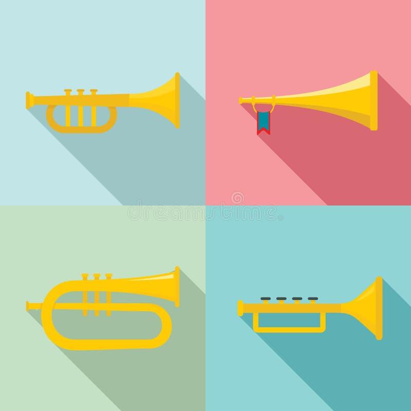 Tubowe rogu instrumentu muzycznego ikony ustawiać, mieszkanie styl royalty ilustracja