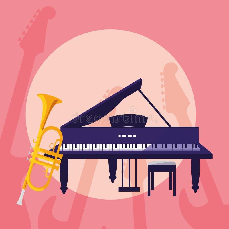 Tubowego i uroczystego pianina instrumenty muzykalni ilustracji