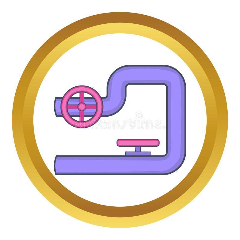 Tubulação com ícone do vetor das válvulas ilustração do vetor