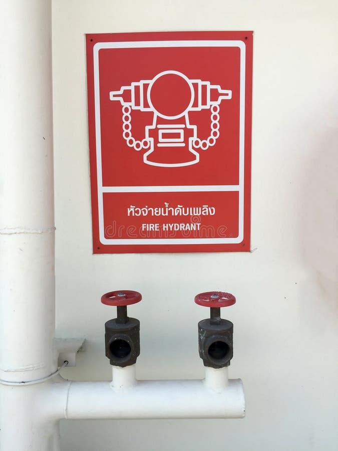 Tubulação de água e válvula da água com símbolo vermelho e branco do suspiro da boca de incêndio de fogo com texto em inglês e em fotos de stock royalty free