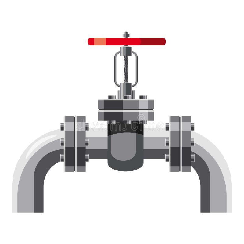 Tubulação de óleo com válvulas ícone, estilo dos desenhos animados ilustração royalty free