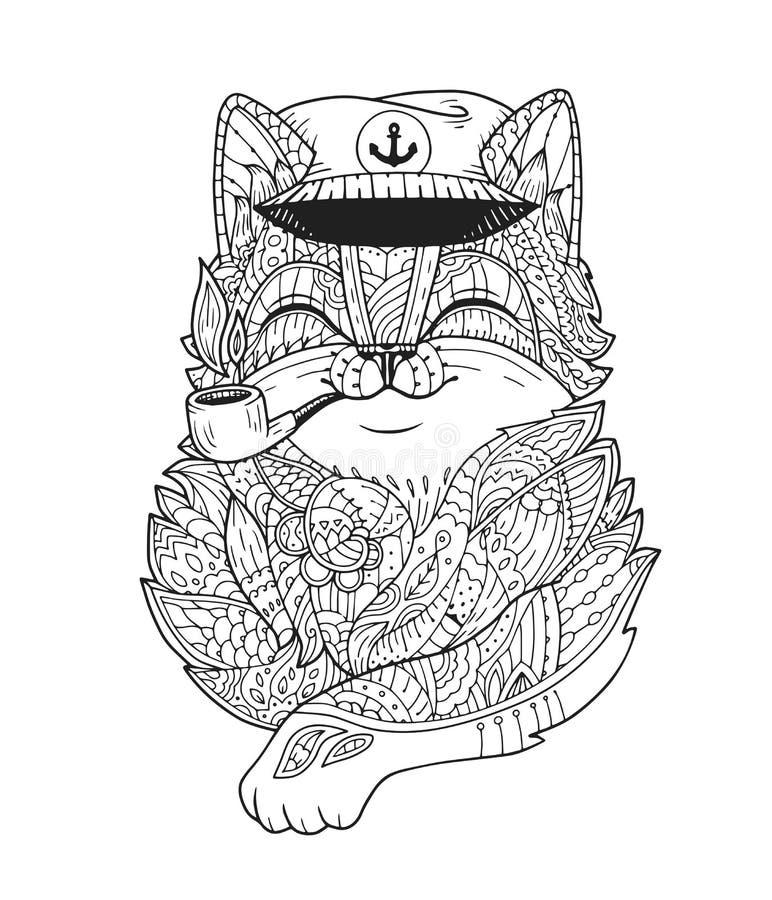 Tubulação de fumo do capitão do gato da garatuja no vetor ilustração stock