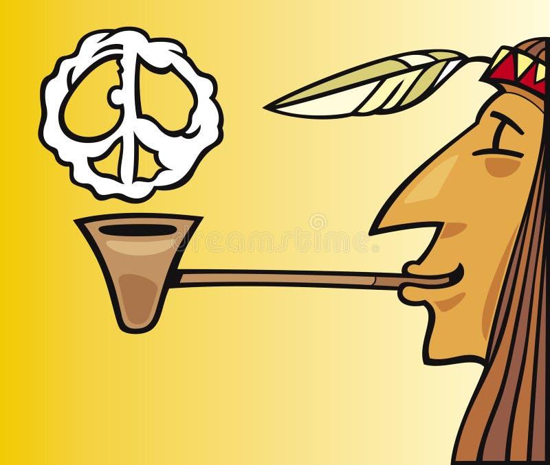 Tubulação de fumo indiana de paz ilustração stock
