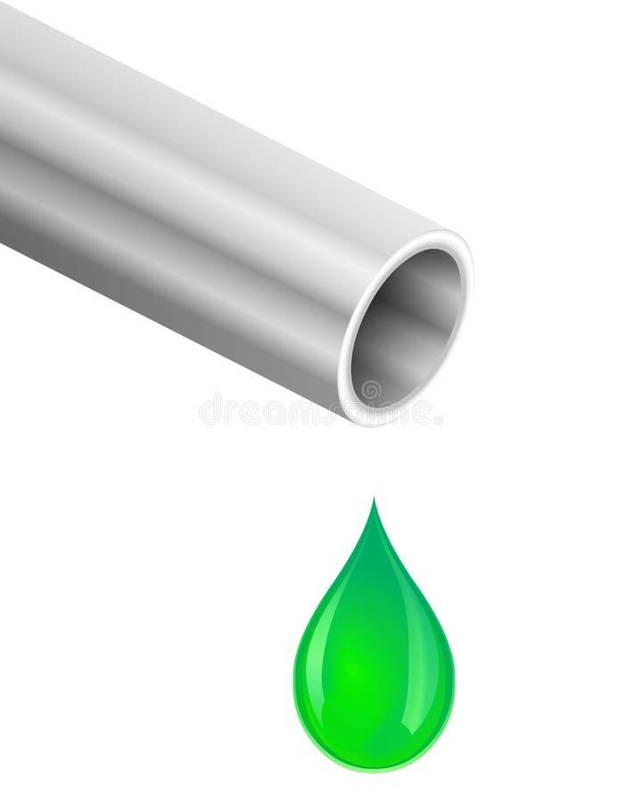 Tubulação e gota líquida verde ilustração do vetor