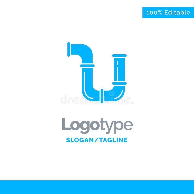 Tubulação, encanador, reparo, ferramentas, água Logo Template contínuo azul Lugar para o Tagline ilustração stock