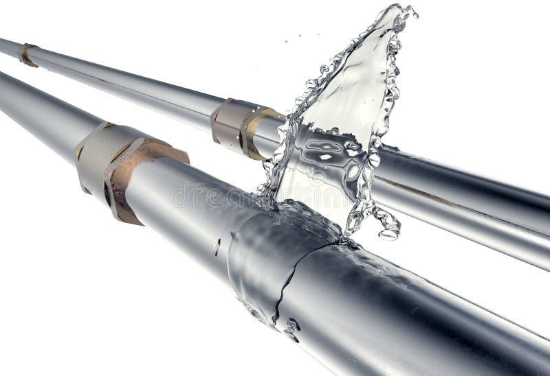 A tubulação quebrada está escapando a água, isolada no branco ilustração stock