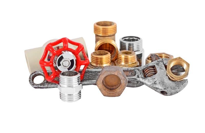 Tubulação, válvula e chave do encanamento fotografia de stock